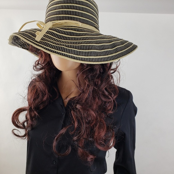 eaa234f162069d Vintage Accessories | Scala Blackwht Paper Braid Wide Brim Hat ...